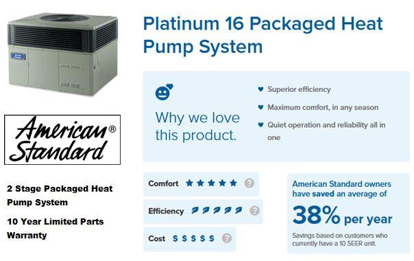 2 stage 16 SEER American Standard packaged Heat Pump system