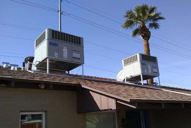 2 new American Standard packaged heat pumps installed on a remodel project in Phoenix